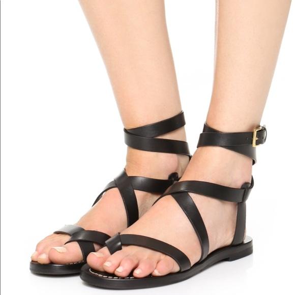 de52d57a0af Tory Burch Patos Sandals Black leather strappy. M 5c774ee70cb5aa19c051d181